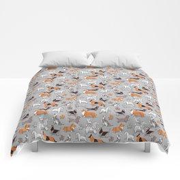 Origami doggie friends // grey linen texture background Comforters