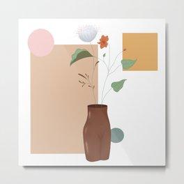 Growth: Black female form vase Metal Print