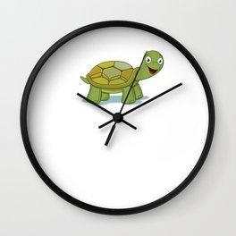 No Stress Funny Turtles Tortoise Reptiles Water Slider Aquamarine Marine Life Animals Gift Wall Clock