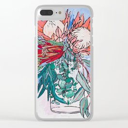 Painterly Vase of Proteas, Wattles, Banksias and Eucayptus on Blue Clear iPhone Case