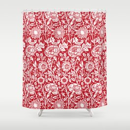 "William Morris Floral Pattern | ""Pink and Rose"" in Red and White Shower Curtain"