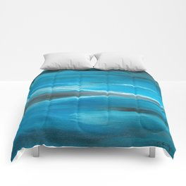 Blue Abstract Art In the Middle of the Ocean Comforters