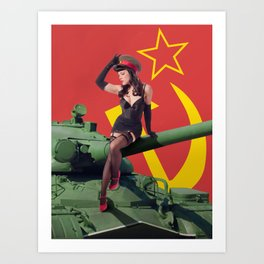 """Sovietsky by Land"" - The Playful Pinup - Russian Tank Pin-up Girl by Maxwell H. Johnson Art Print"