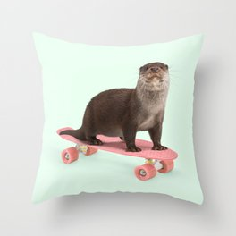 SKATE OTTER Throw Pillow