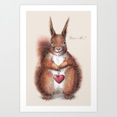 Squirrel heart love Art Print