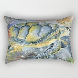 Colorful Seaturtle Art Rectangular Pillow