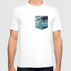 Riding Backwards MEDIUM White Mens Fitted Tee