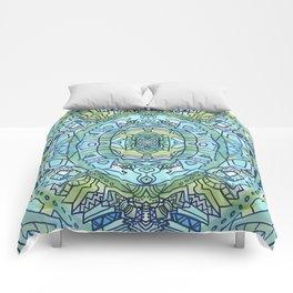 Doodle Art Blue Green Oval Comforters
