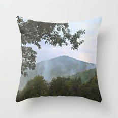 Foggy Mountain Top Throw Pillow