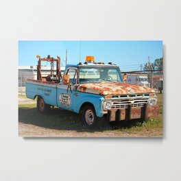 Rusty Blue Tow Truck Metal Print