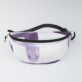 Purple Brush Strokes on White Fanny Pack
