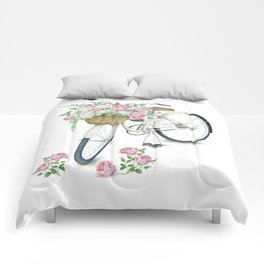 Vintage White Bicycle with English Roses Comforters