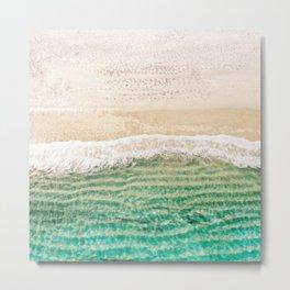 Gold and Aqua Aerial Beach Metal Print