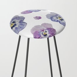 Watercolor Pansy Pattern Counter Stool