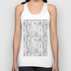 City Doodle (white) Unisex Tank Top