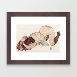 Kneeling Girl, Resting on Both Elbows Framed Art Print