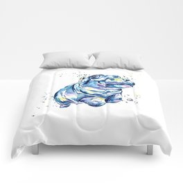 Hippo Colorful Watercolor Hippo Painting - Grace Comforters