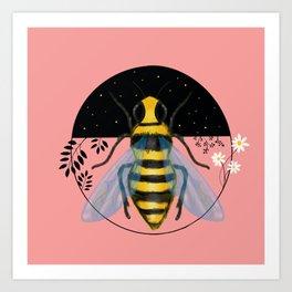 Bee Emblem on Pink Art Print