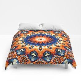 Geometric Orange And Blue Symmetry Comforters