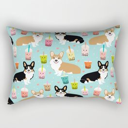 Corgi boba tea bubble tea kawaii food welsh corgis dog breed gifts Rectangular Pillow