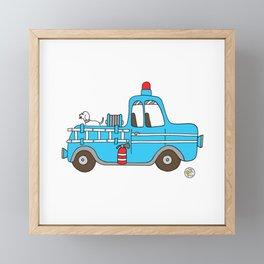 firetruck blue vintage fire truck Framed Mini Art Print