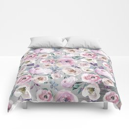 Hand painted blush pink gray violet watercolor roses floral Comforters
