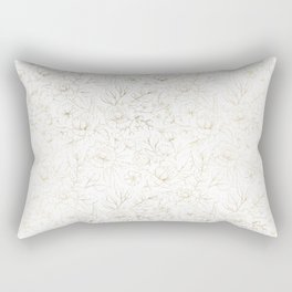 Elegant simple modern faux gold white floral Rectangular Pillow