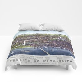 WASHINGTON city old map Father Day art print poster Comforters
