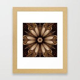 Abstract flower mandala with geometric texture Framed Art Print