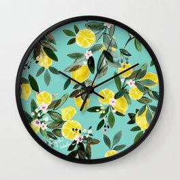 Summer Lemon Floral Wall Clock
