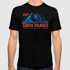 Visit Twin Peaks (orange) Black Mens Fitted Tee MEDIUM