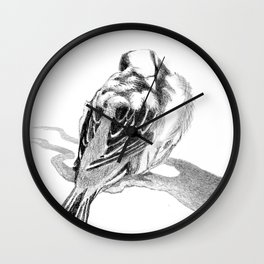 Cute Fluffy Bird Sleeping Wall Clock