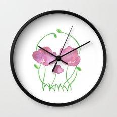 Tulip Skull Wall Clock