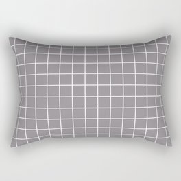 Taupe gray - violet color - White Lines Grid Pattern Rectangular Pillow