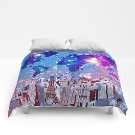 world map city skyline galaxy Comforters