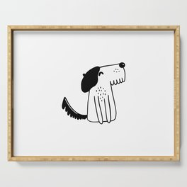 Parisian dog with beret on head Serving Tray