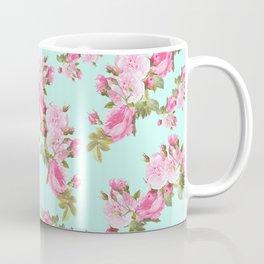 Pink & Mint Green Floral Coffee Mug