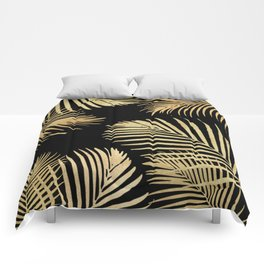 Gold Palm Leaves on Black Comforters