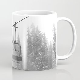 Chairlift Abyss // Black and White Chair Lift Ride to the Top Colorado Mountain Artwork Coffee Mug