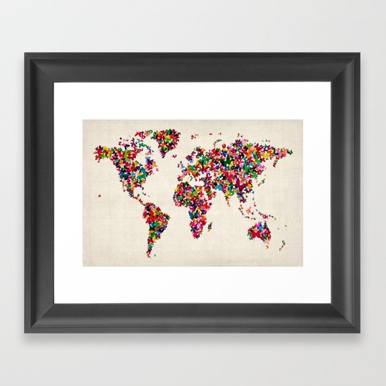 Butterflies Map of the World Map Framed Art Print