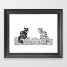 Black Cat White Cat Framed Art Print