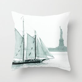 Statue of Liberty with Schooner Throw Pillow