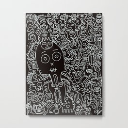All the world united Street Art Graffiti Black and White Metal Print