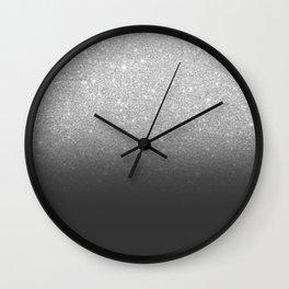 Modern faux silver glitter ombre grey black color block Wall Clock