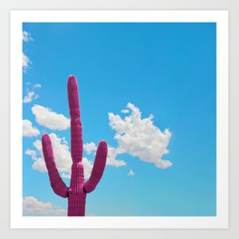 Pink Saguaro Against Cloudy Blue Sky in Arizona Art Print