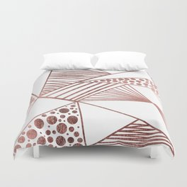 Geometrical Modern Faux Rose Gold Abstract Shapes Duvet Cover