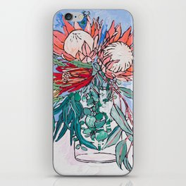 Painterly Vase of Proteas, Wattles, Banksias and Eucayptus on Blue iPhone Skin