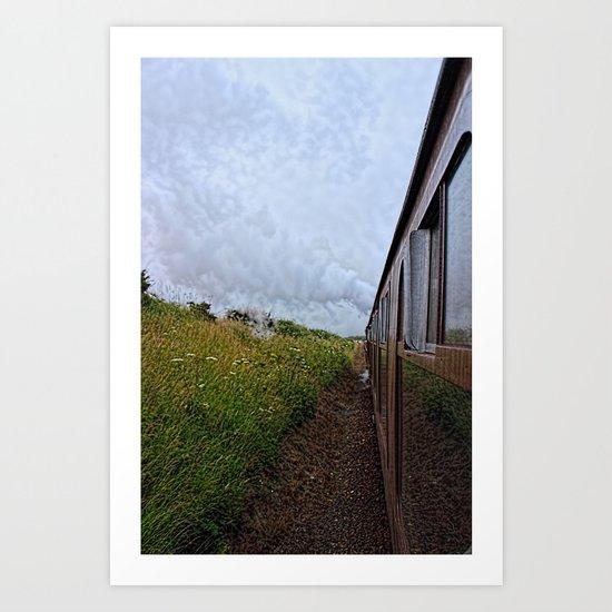 Steam train coach reflection Art Print