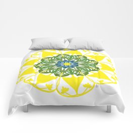 Yellow Green and Blue Mandala Flower Comforters