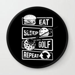 Eat Sleep Golf Repeat - Golf Ball Golf Course Putt Wall Clock